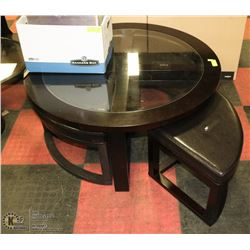 ROUND COFFEE TABLE WITH GLASS TOP & 4 TRIANGULAR