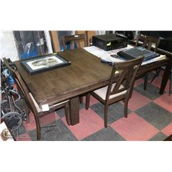 DINING TABLE WITH 4 CHAIRS AND 1 LEAF 78X42X30