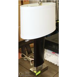 BLACK OVAL SHAPED TABLE LAMP WITH WHITE SHADE &