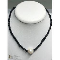 1) ST. SILVER SPINEL & FRESHWATER PEARL NECKLACE