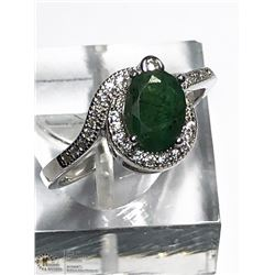 7) STERLING SILVER EMERALD AND CZ RING SIZE 9