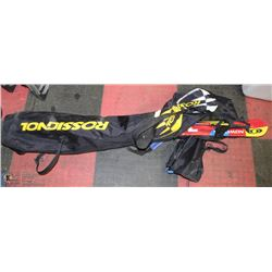 PAIR OF SOLOMAN SKIIS WITH BAG AND POLES