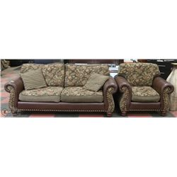 FLORAL FABRIC AND LEATHERETTE NAILHEAD SOFA WITH