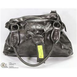 WOMENS METALLIC GREY SHOULDER BAG / PURSE