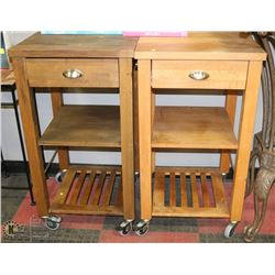 GROUP OF 2 WOOD BUTCHER BLOCK STYLE TABLES ON