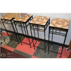 GROUP OF 4 TILE TOP END TABLES