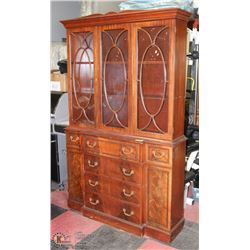 ANTIQUE CHINA CABINET WITH DOMED GLASS DOORS