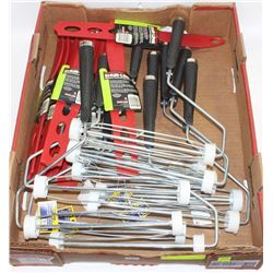 """FLAT OF PAINTERS SUPPLIES: 8"""" ROLLERS & STIRSTICKS"""
