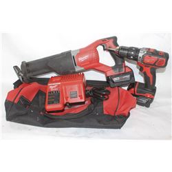 MILWALKE M18 SAWZALL 18 VOLT, DRILL & CHARGER