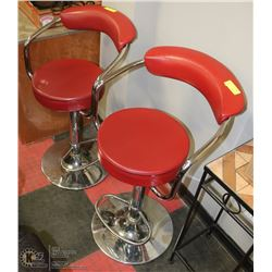 PAIR OF RED LEATHERETTE AND CHROME HYDRAULIC LIF