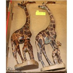 "LOT OF 2 WOOD GIRAFFE & BABY STATUES - 10""TALL"