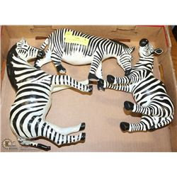 "LOT OF 3 ZEBRAS -7"", 8"" & 10"" TALL."