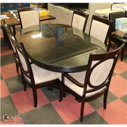 DARK WOOD SIX SEATER DINING ROOM TABLE 74X46X30