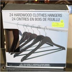24 HARDWOOD CLOTHES HANGERS  - 3-IN-1 SOLID GRADE