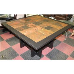 WOOD & TILE TOP KITCHEN TABLE