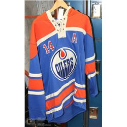 "OILERS ""EBERLE"" SIZE LARGE OLD TIME HOCKEY HOODED"