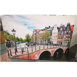 LARGE CITY SCENE CANVAS PICTURE 55 X 39