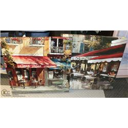 PAIR OF CAFE CANVAS PICTURES 22 X 22