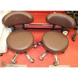 GROUP OF 2 BROWN LEATHERETTE PEDICURE CHAIRS