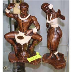 MAN & WOMAN CERAMIC HAWAIIAN FIGURINES -