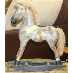 "VINTAGE HANDMADE WOODEN ROCKING HORSE  - 17""H"