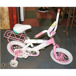 GIRL'S JOHN DEERE BICYCLE W/ TRAINING WHEELS.