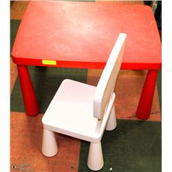 KIDS TABLE WITH ONE CHAIR.