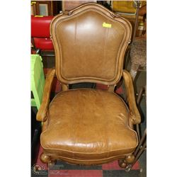 CARVED STYLE LARGE LEATHER ARMCHAIR