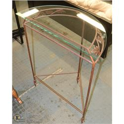 """3 FOOTED WROUGHT IRON TABLE W/GLASS TOP-34""""H X"""