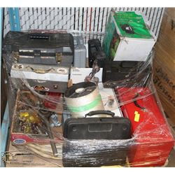PALLET OF TOOLS, GARAGE ITEMS, MATERIALS & MORE