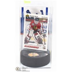 DOMINIK HASEK ROOKIE CARD AND PUCK HOLDER