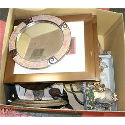 ESTATE BOX OF ASSORTED MIRRORS, ORNAMENTS AND MORE
