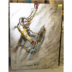 ABSTRACT SNOWBOARDER METAL ARTWORK 36 X 47
