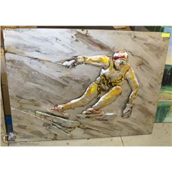 ABSTRACT SKIER METAL ARTWORK, 47 X 36