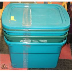LOT OF 3 PLASTIC STORAGE TOTES WITH LIDS