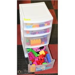 4 DRAWER CADDY FILLED WITH LEGO DUPLO BLOCKS.