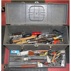 TOOL BOX WITH CONTENTS AND ATTACHMENTS.
