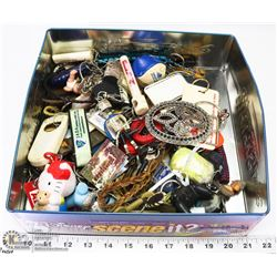 LARGE TIN BOX W/ VINTAGE KEYCHAINS AND MORE