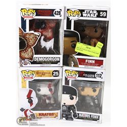 BOX W/ 4 COLLECTIBLE FUNKO POP FIGURINES