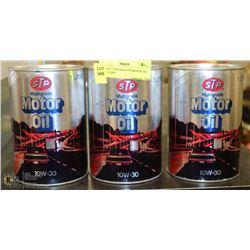 LOT OF 3 VINTAGE STP MOTOR OIL FULL CANS