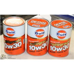 3 VINTAGE GULF FULL CANS OF MOTOR OIL