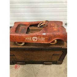 PEDAL CAR #5 FIRE CHIEF - MURRAY RESTO PROJECT, ORIG. WHEELS & HUB CAPS