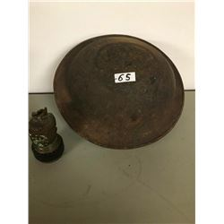 WW1 ARMY HELMET & BRASS  MINER'S LAMP