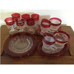 KING'S CROWN RUBY STAINED DISHES
