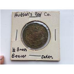1/2 BRASS BEAVER TOKEN HBC