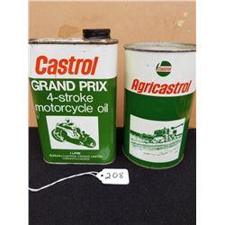 CASTROL MOTORCYCLE OIL - 1 LITRE & AGRICASTROL QUART, FULL MINT