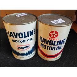 2 DIFFERENT HAVOLINE MOTOR OIL QUARTS - FULL