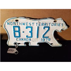 1979 NORTH WEST TERRITORIES POLAR BEAR LICENSE PLATE