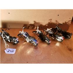 """5 BLACK SCALE MODEL MOTORCYCLES - MOSTLY HARLEY, - 5"""""""