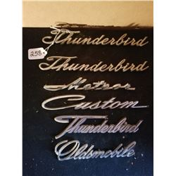 6 PIECES AUTOMOTIVE SCRIPT, THUNDERBIRD, FORD RELATED & OLDS